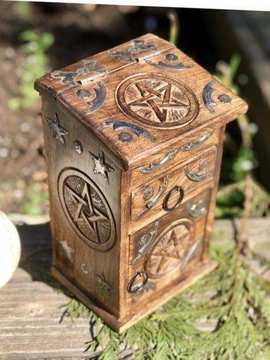 wood cabinet herb pentagram wiccan