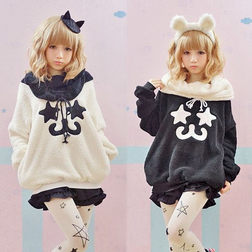 www.sanrense.com - Cute kawaii star emoticon hoodie