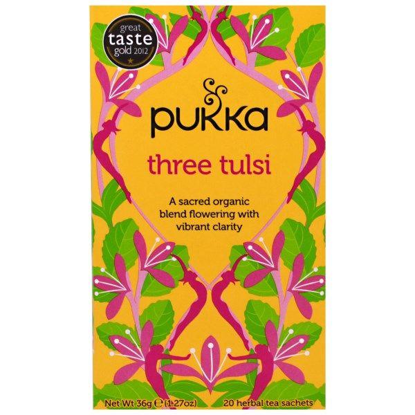 Pukka Herbs, Three Tulsi, 20 Herbal Tea Sachets, 1.27 oz (36 g) Each