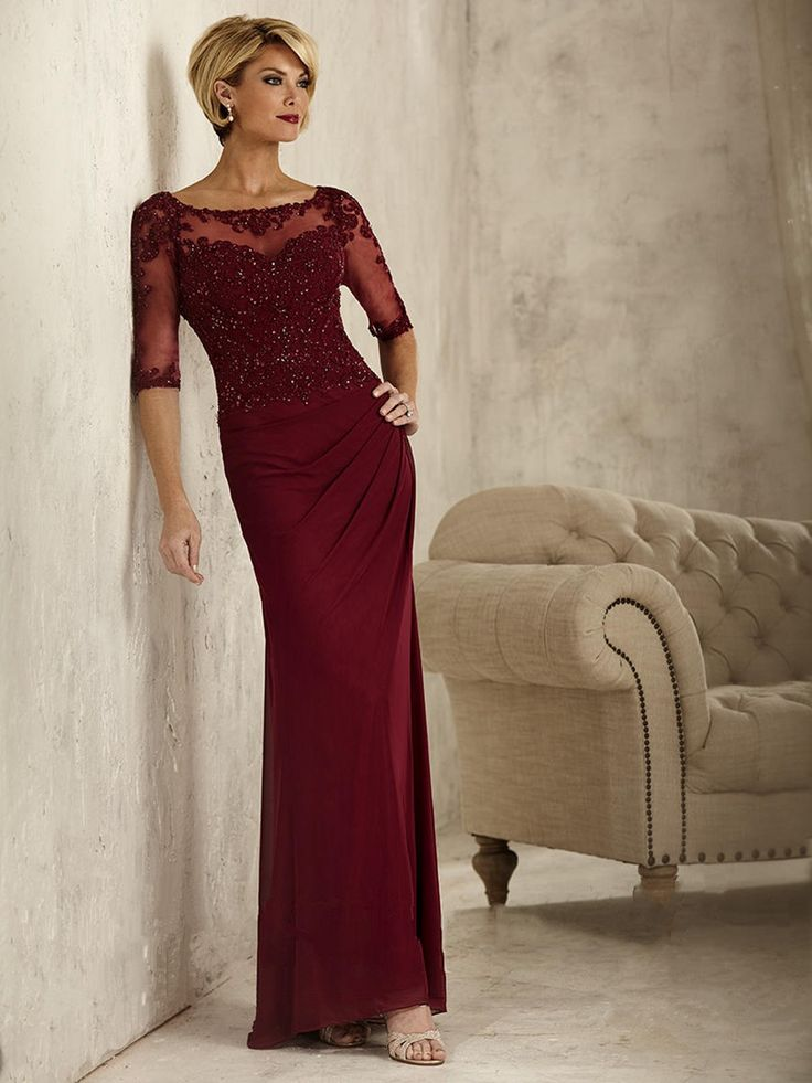 Long 3/4 Sleeves Illusion Neckline Lace and Chiffon Wine Red Mother of The Bride Dresses 5701030