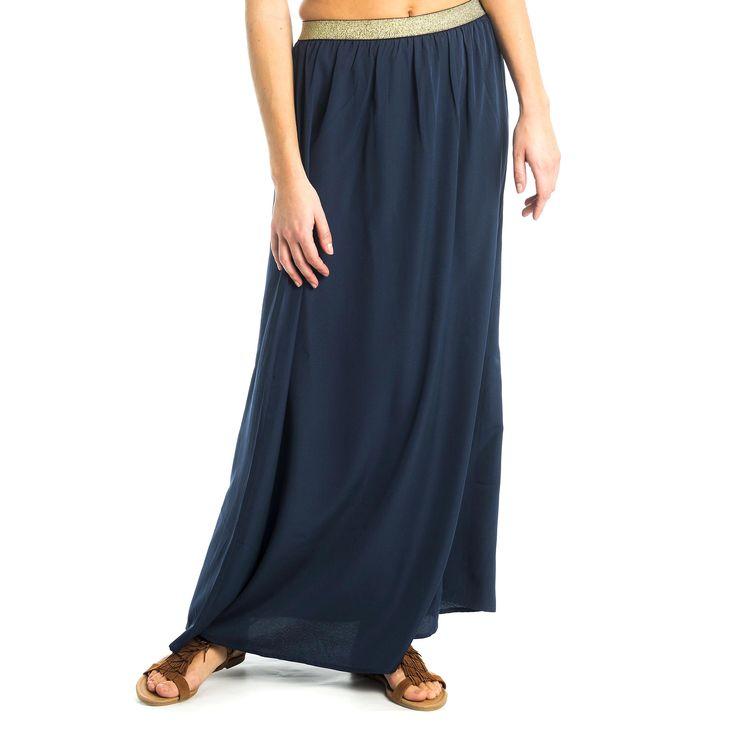 Een klassieke rok blijft altijd in stijl! Deze lange rok heeft een tailleband met glitterdraad voor een extra vrouwelijke toets. Erg leuk te combineren met een klassieke look, of een eerder gewaagde outfit.