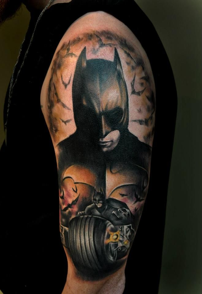 76 best images about superhero tattoo on pinterest for Bat sleeve tattoo