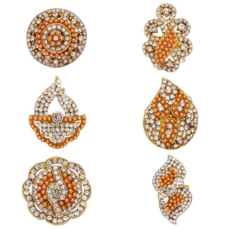 Gold Rhinestone Combo Set of 6 Ring Jewellery…