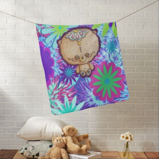 Hippy Bear Baby Blanket - available in I Love the Quirky's new store on Zazzle. So many other baby and children's products available in this design.