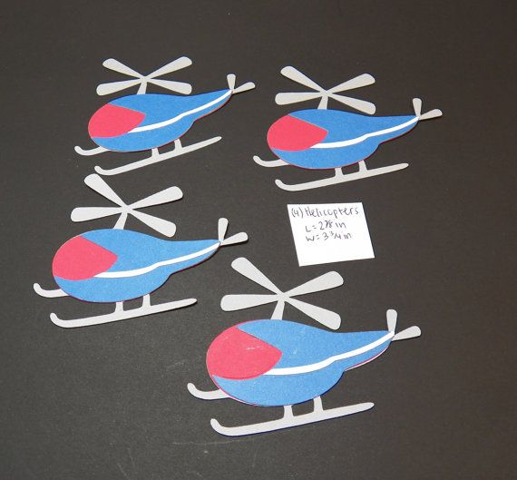 HELICOPTER die cut embellishments for card making, scrapbook, bulletin board