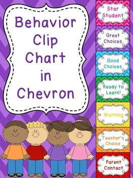 "Behavior chart - a simple but cute chevron behavior chart for your classroom! All students' clothespins start on ""Ready to Learn"" and move up or down on the chart based on their choices. This is a great behavior tool because it allows recognition for those who make good choices, rather than all of the attention being on those who are acting up."