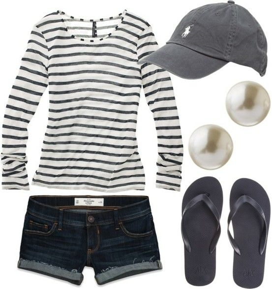A little sorority girl-esque, but lose the pearl earrings and you have a nice casual summer outfit. =)