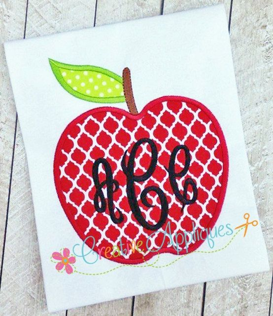 apple digital machine embroidery applique design 4 sizes empire empress monogram font