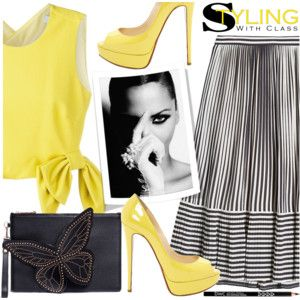 Striped Skirt & Bow Detail Top