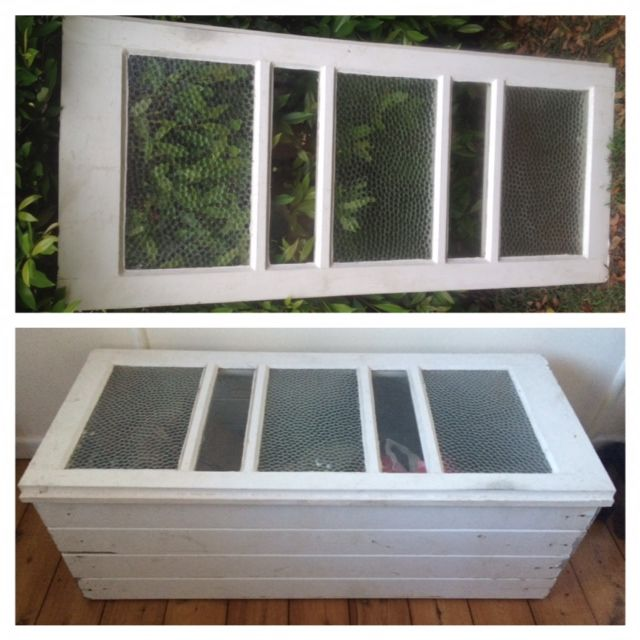 """A $20 shutter from a second hand timber factory was turned it a very handy blanket box. I used old VJ boards which I left as is - no sanding or painting as I wanted it to have an """"old world"""" look"""