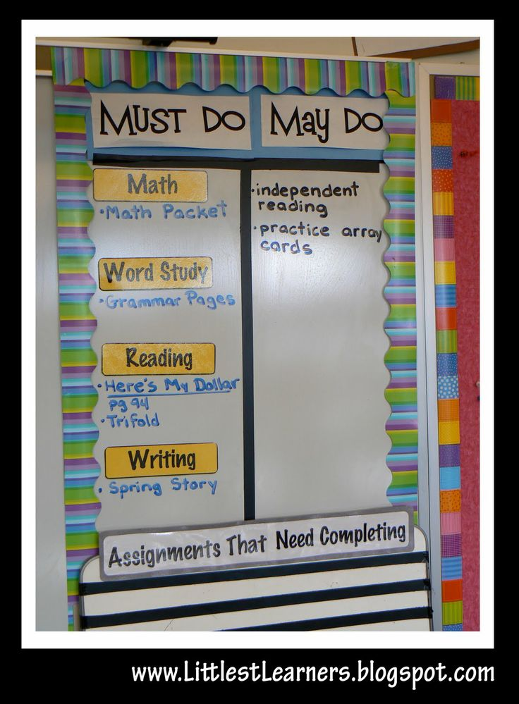 "Must do, May do board for my classroom. I get tired of them saying ""what can I do? i have all my work done!"""
