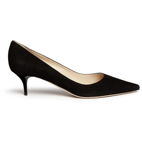 Jimmy Choo 'Aza' kitten suede heel pumps (1.994.725 COP) ❤ liked on Polyvore featuring shoes, pumps, black, black suede pumps, black shoes, black pumps, kohl shoes and jimmy choo