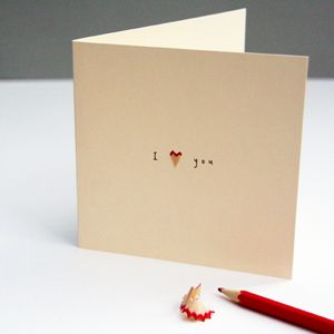 I Love You pencil shavings card - £3.50 including P & P.