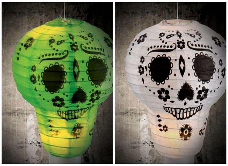 Halloween Spooky Light Up Paper Lanterns - Skeleton Pumpkin Stand Hang REUSEABLE