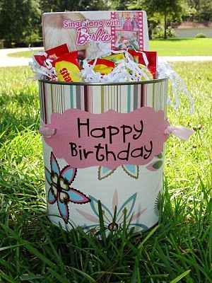 Getting crafty with empty cans:  When you're finished decorating the buckets, you can stuff them full of all kinds of goodies. Army men, glow swords or crowns, silly putty, dvds, candy......the possibilities are endless! The best part.....you can totally customize them to fit the personality of the birthday child {and your budget as well}!