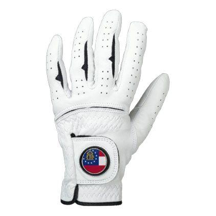 Leather Golf Glove with Flag of Georgia USA - elegant gifts gift ideas custom presents