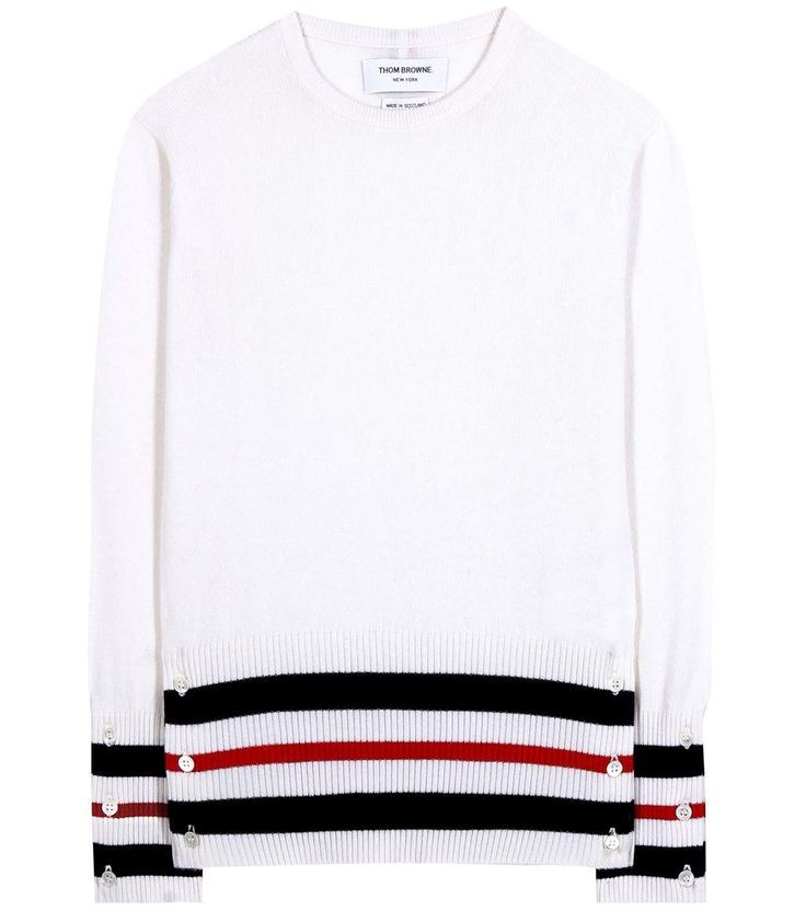 THOM BROWNE Striped Cashmere Sweater. #thombrowne #cloth #sweater