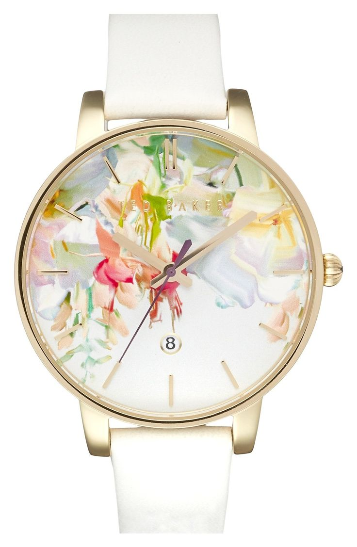 beautiful floral faced white strap watch