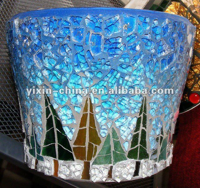free mosaic art patterns for bottles | Tree Pattern Glass Mosaic Candle Holder Handicrafts - Buy Mosaic ...