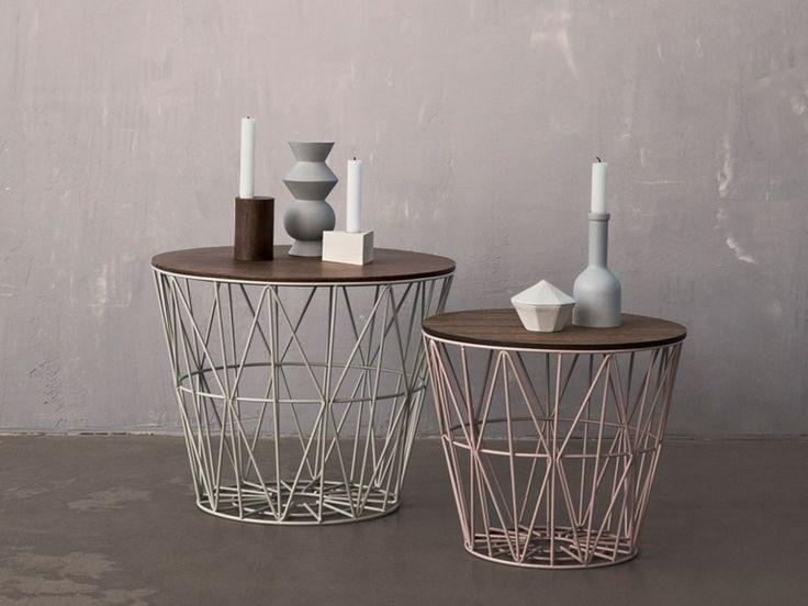 table basse ronde en fer wire basket table basse ferm. Black Bedroom Furniture Sets. Home Design Ideas
