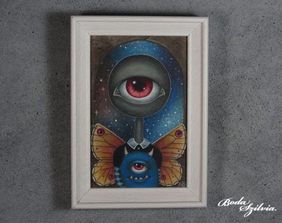 Iris  original art acrylic painting framed painting pop surrealism big eye art monster painting by bodaszilvia on etsy