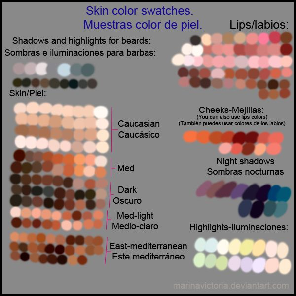Some skin swatches. Algunas muestras de piel by *MarinaVictoria on deviantART  ★ || CHARACTER DESIGN REFERENCES™ (https://www.facebook.com/CharacterDesignReferences & https://www.pinterest.com/characterdesigh) • Love Character Design? Join the #CDChallenge (link→ https://www.facebook.com/groups/CharacterDesignChallenge) Share your unique vision of a theme, promote your art in a community of over 50.000 artists! || ★
