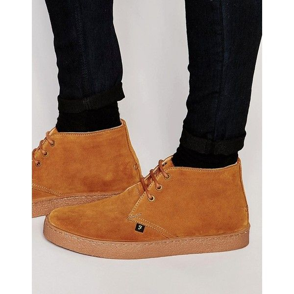 Farah Famous Suede Chukka Boots ($145) ❤ liked on Polyvore featuring men's fashion, men's shoes, men's boots, tan, mens chukka boots, mens tan shoes, mens suede boots, mens suede chukka boots and mens suede lace up boots