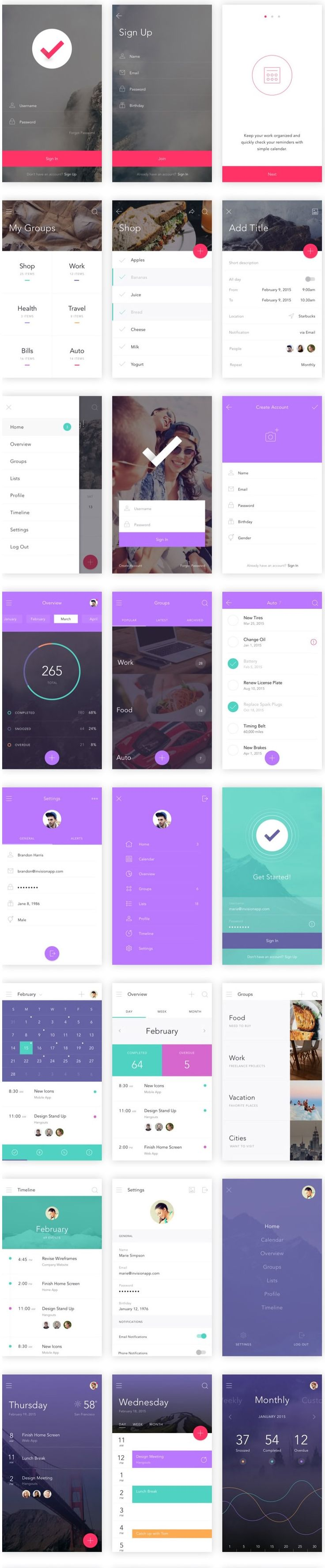 30 Latest Free Mobile App UI PSD Designs
