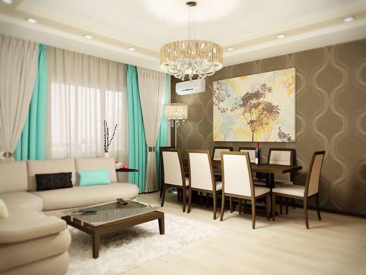 Интерьер гостиной выполнен в классическом стиле. Его освежает сочетание нестандартных, бодрых расцветок и живопись на стене, в обеденной зоне. Автор проекта: дизайнер интерьера Татьяна Зайцева