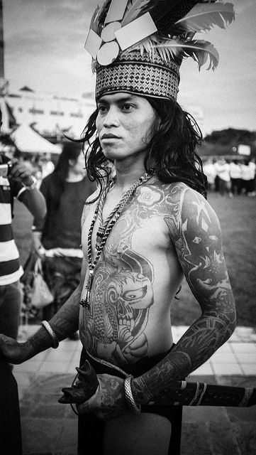 Dayak warrior Borneo Indonesia
