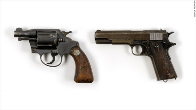 Bonnie and Clyde's guns which sold at auction. Bonnie's personal Colt .38 snub-nosed revolver sold for 264 thousand and Clyde's Colt .45 sold for 240 thousand. Bonnie's was taped to her inner thigh and Clyde's was on his waistband, the day they were ambushed and shot by a police posse in Louisiana in 1934.
