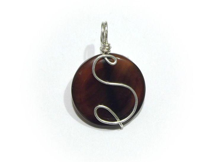 A pendant - agate with an initial from betulek by DaWanda.com