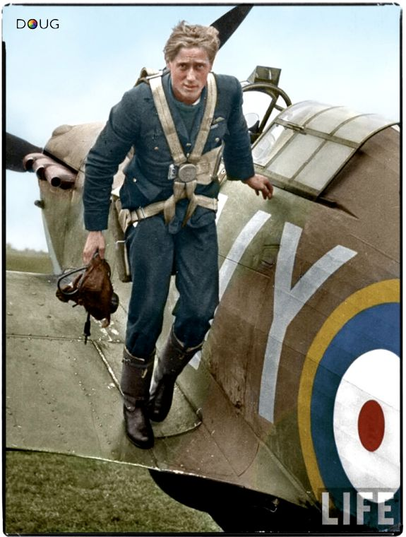 Pilot Officer Albert Gerald Lewis DFC (aged 22) in his Hawker Hurricane Mk.1 (VY-R) P2923 with 85 Squadron RAF at Castle Camps, RAF Debden's satellite airfield in Cambridgeshire. July 1940.