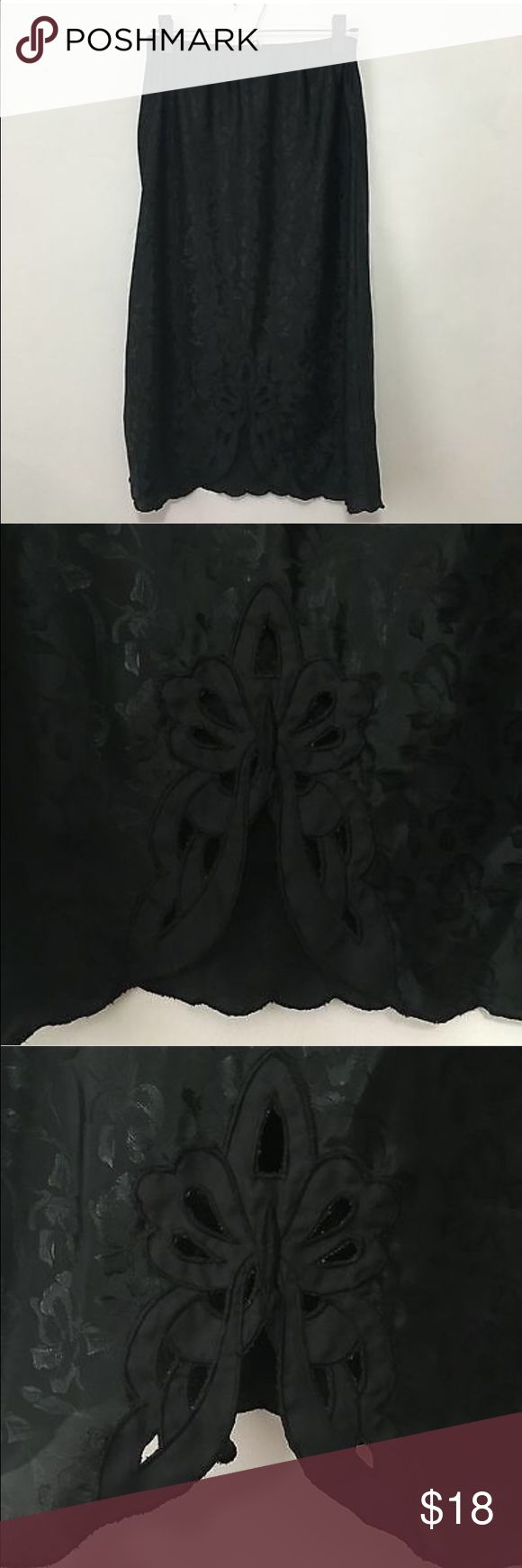 """Vintage Black Jacquard Floral Midi Half Slip Skirt Vintage Black Jacquard Floral Midi Half Slip Skirt M <<<<<<<<<<<<<<<<<<<<<<<<<<<<<<<<<<<<<<<<  good condition, no stains or holes  polyester jacquard floral fabric cut out lace detail at front hem  Size M 28"""" long 12"""" across waist laying flat 21"""" across hip laying flat Vintage Skirts Midi"""