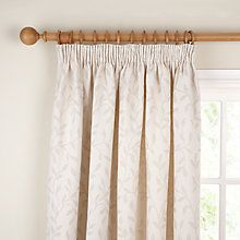 Buy John Lewis Leaf Trail Lined Pencil Pleat Curtains, Stone Online at johnlewis.com