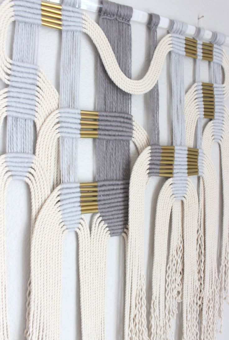 """Macrame Wall Hanging """"gry + wht #2"""" by HIMO ART, One of a kind Handcrafted Macrame, rope art by HIMOART on Etsy https://www.etsy.com/au/listing/514974851/macrame-wall-hanging-gry-wht-2-by-himo"""