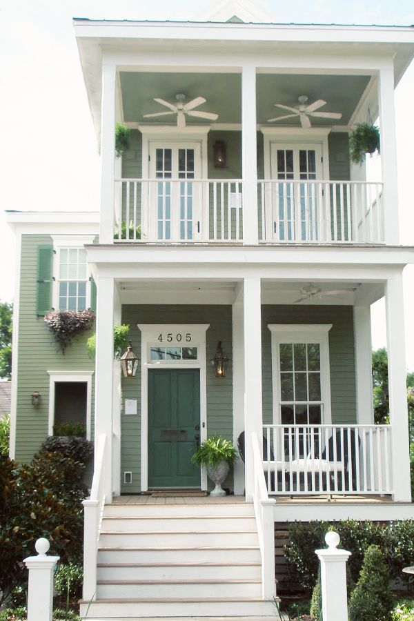 Green cottage living shot gun house in new orleans lettered cottage architecture - Two story holiday homes ...