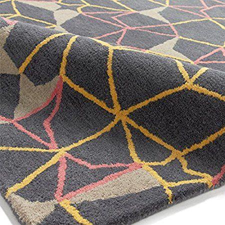 Think Rugs spettro SP37 100% lana trapuntato a mano indiano tappeto, Grigio/Giallo/Rosa, 120 x 170 cm: Amazon.it: Casa e cucina
