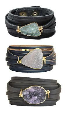 Bracelets | Mindy Gold Designs. Leather and druzy stones