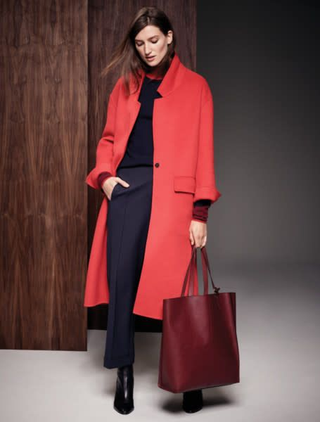 Autograph coat, �119; M&S Collection jumper, �29.50, and Autograph trousers, �49.50, in October 10; bag, �99, in now. All at Marks & Spencer.