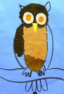 Torn Paper Owls for Second Grade