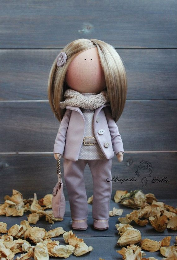 Hand made Art doll, blonde, purple, Collectable, Fabric doll, Home, Decor doll, Gift doll, Baby, unique magic doll by Master Margarita Hilko