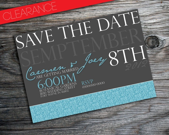 Damask Save The Date Wedding Invitation 40% Off By PURPLEgalore, $8.40
