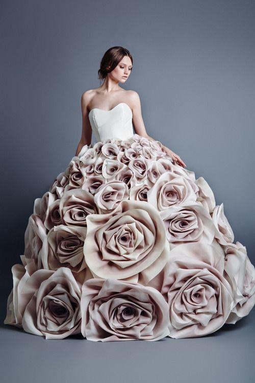 Sculptural Fashion - voluminous dress with giant fabric roses skirt - 3D flower fashion; wearable art // Jean Louis Sabaji