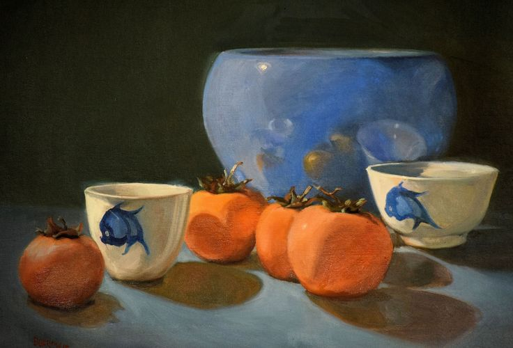 """Donald Burrow. """"Persimmons"""". Oil on canvas. 61x 51cm. August 2015."""