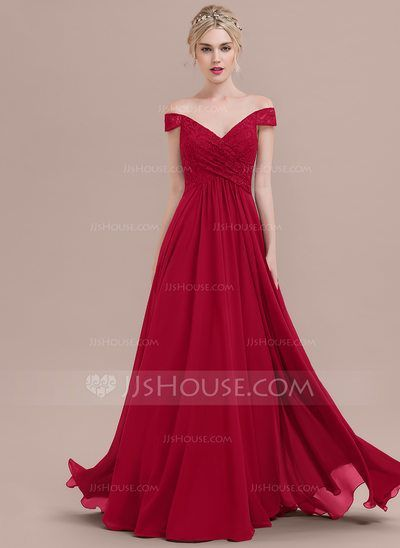 [US$ 126.69] A-Line/Princess Off-the-Shoulder Floor-Length Chiffon Lace Bridesmaid Dress With Ruffle
