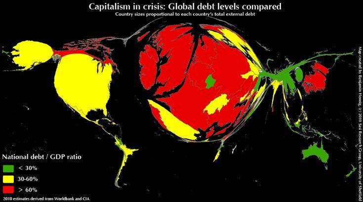 "Cartograma: superficies proporcionales a ""deuda externa/PBI"""