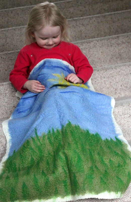 Hand felted from merino wool, great pram blanket, €49.00