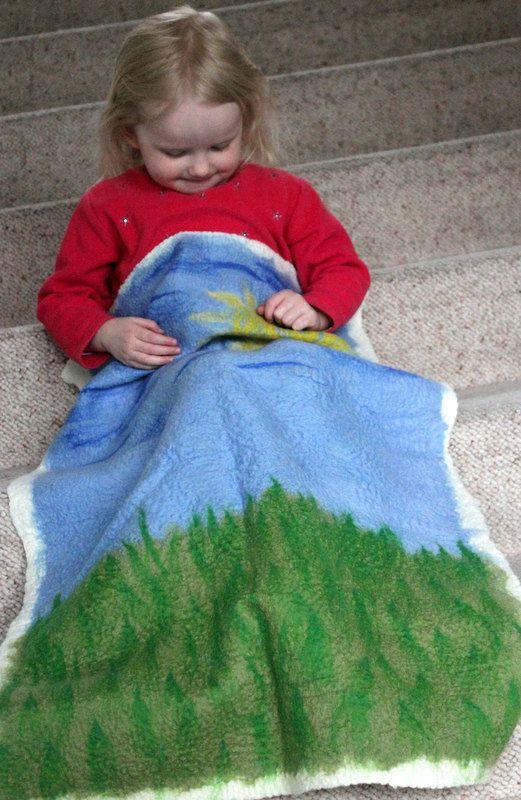 Hand felted from merino wool, great pram blanket, €49.00