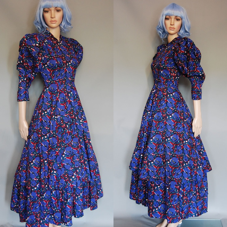 Droopy and Browns - Angela Holmes Printed Beautiful Vintage Late 1980s Dress | eBay